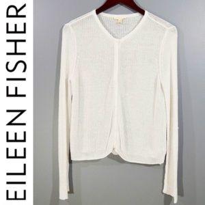 EILEEN FISHER White Organic Linen Sweater Cardigan